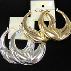 "Big 3"" Metal Pincatch Fashion Earrings Gold & Silver .54 ea pair"