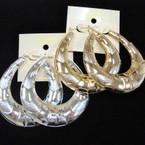 "Big 2.5"" Metal Pincatch Fashion Earrings Gold & Silver .54 ea pair"