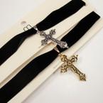Black Velvet Choker Necklace w/ Gold/Silver Fancy Cross .54 ea