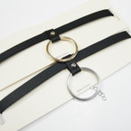 Black Leather Choker Necklace w/ Gold/Silver Ring .54 ea