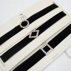 Black Velvet Choker Necklace w/ 3 Style Crystal Stone Shapes .54 ea