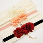 Velvet Choker Necklace w/ Triple Chiffon Flower  .54 ea