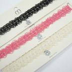 Fancy Lace Choker Necklace w/ Dangle Cry. Stone Pend   .54 ea