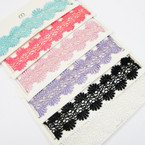 6  Mixed Color Fancy Lace  Choker Necklace  As Shown    .54 ea