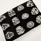 Men's Mixed Style Silver Skull Rings as shown .54 ea