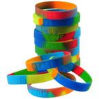 Rainbow Asst Saying Band Bracelets 12 per pk @ 12.5 ea