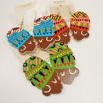 "2.5"" Mixed Color Wood Fashion Lady Earrings .54 ea"