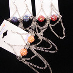 SPECIAL Silver Chain & Fireball Earrings .27 each pair