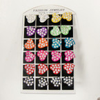 12 Pair Crystal Stone Heart Earrings on Display .27 per pair