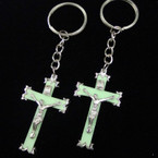 Glo in The Dark Crucifix Keychains 12 per pack .50 ea