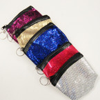 "4"" Sparkle Zipper Coin Purse w/ Keychains 12 per pk @ .50 each"