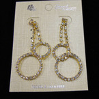 "1.5"" DBL Strand Rhinestone Earring w/ Circles sold by pair $ 1.50 ea pair"