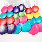 "3.5"" 4 Part Wood Disc Multi Color Fashion Earrings  .54 per pair"