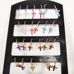 Rhinestone Euro Wire Cross Earrings Gold/Sil Asst Colors 12 pair display .54 ea