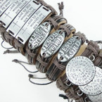 Teen Leather Bracelet w/ 3-Style Inspiritual Sayings  .54 each