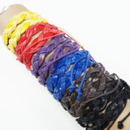 Teen Leather Bracelet Braid Style Asst Colors .54 ea