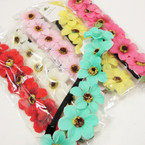 Trendy 6 Flower Headbands w/ Elastic Back .54 ea