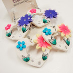 SPECIAL Heart Shaped Hawaiian Flower Look Fashion Earrings .33 ea pair