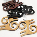 "2"" Wood Energy Symbol Fashion Earrings .54 ea pair"