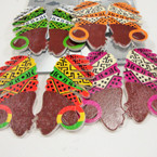 "2"" Colorful Wood Fashion Lady Earring w/ Turbin .50 ea"