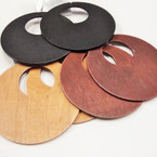 "4"" Round Wood Fashion Earring 3 colors  .54 ea pair"
