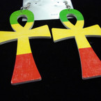 "3"" Rasta Color Wood Cross Earrings .54 ea"