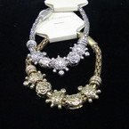 Gold & Silver Magnet Pandora Look Bracelet w/ Turtles .56 ea