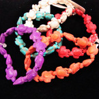 Asst Color Stone Turtle Stretch Bracelets  .54 ea