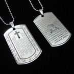 Stainless Steel Lord's Prayer Pendant Necklace Spanish .54 ea