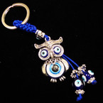 Cast Silver OWL  Keychain w/  Eye Beads .54 ea