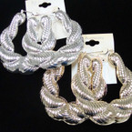 "3"" Chunky Gold & Silver  Pincatch Rope Look Metal Earrings .54 ea pair"