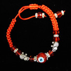 Handmade Red Macrame Bracelet w/ Silver Elephants & Crystals .54 ea
