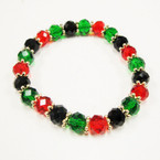 10MM Crystal Beaded Stretch Bracelet Africa Colors .54 ea
