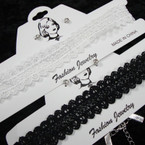 TRENDING Black & White Lace Choker Set w/ Cry. Stone Earrings .54 per set