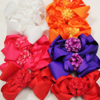 "5.5"" Gator Clip Bow w/ Ruffled Flower Asst Colors .54 ea"