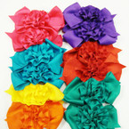 "5.5"" Gator Clip Bow w/ Ruffled Flower Center Asst Colors .54 ea"