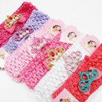 "1.5"" Crochet Stretch Headwrap Set w/ Bow & Glitter Crown .54 ea"