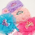 "2.5"" Crochet Stretch Headwrap  w/ Lace Bow & Glitter Crown .54 ea"
