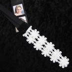 Popular All White Lace Flower Headbands w/ Elastic Back .54 ea