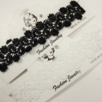 TRENDING Wide Black & White Lace Choker Set w/ Cry. Stone Earrings .54 per set