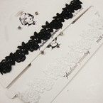 TRENDY Black & White Lace Choker Set w/ Cry. Stone Earrings .54 per set
