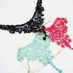 Full Lace Fashion Choker w/ Dangle Pearl  .54 ea