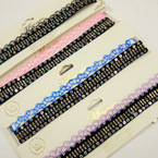 Tattoo & Sequin Fashion Choker Set Mixed COlors .54 ea set
