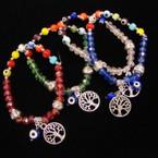 Crystal & Eye Bead Bracelet w/ Tree of Life Charm .54 ea
