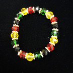 10MM Crystal Beaded Stretch Bracelet RASTA Colors .54 ea