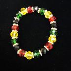 10MM Crystal Beaded Stretch Bracelet RASTA Colors .54 ea