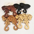 """3"""" Big Trunk Wood Elephant Earrings 4 colors .54 ea"""