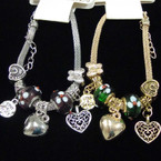 Classy Gold & Silver Pandora Look Charm Bracelet .58 ea