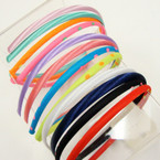 4 Pack Mixed Color Thin Satin Headbands .54 per pk of 4