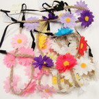 Jute Cord Elastic Back Colorful Flower Trendy Headbands .54 ea
